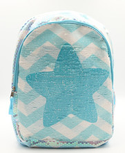 Trendy blue travel bag sequin reversible backpack leisure and school backpack for girls