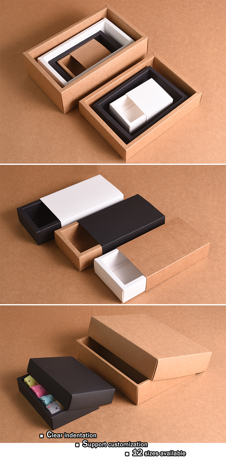 Factory Directly Supply customized size good quality elegant drawer gift packaging kraft box