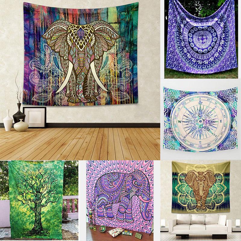 Indian Elephant Mandala Tapestry Hippie Wall Hanging Tapestries Beach Throw Towel Yoga Mat Gypsy Bedspread Home Decor 150*130cm