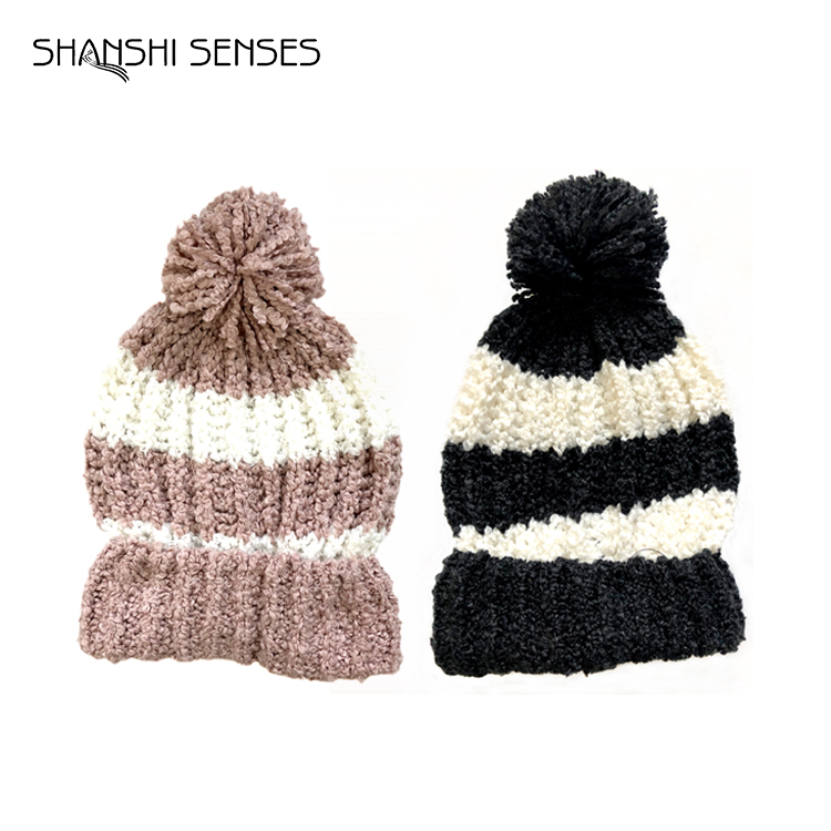wholesale custom 100% polyester patterns stretch women knit boucle scarf and winter cheap pom beanie hat