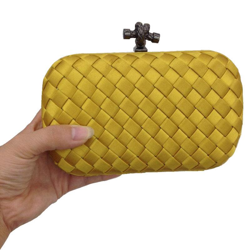 Get Quotations · Women Evening Clutch Designer Knot Clutch Famous Brand  Knitting Satine Clutch Bag Dinner Clutch Purse Chain 322b2a1bab