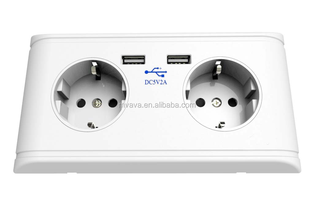 Schuko wall socket with USB charging port