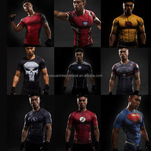 Full Sublimated Mens Gym Wear Hero Style Tight Fit Compression Tee Shirt