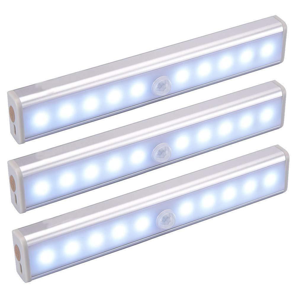 Rumas Human Body Infrared Sensor LED Night Light - 10LEDs Night Lamp Wall Mount for Kids Room Bedroom - Energy Saving Long Lifespan Beside Lamp - Shipped from US (White)