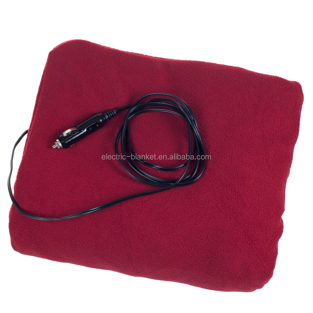 Heated Travel Rug Soft Fleece Electric Throw Blanket 12 Volt DC