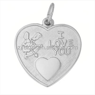 2015 Fashion I Love You Heart Charm A Smaller Heart Engraved Initials Cupid's Love Pendant
