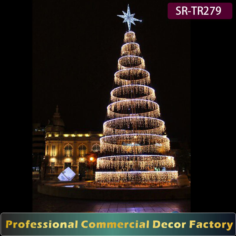 NEW Outdoor 9m 10m 12m 15M 18M 20M pre lit christmas tree with LED curtain light