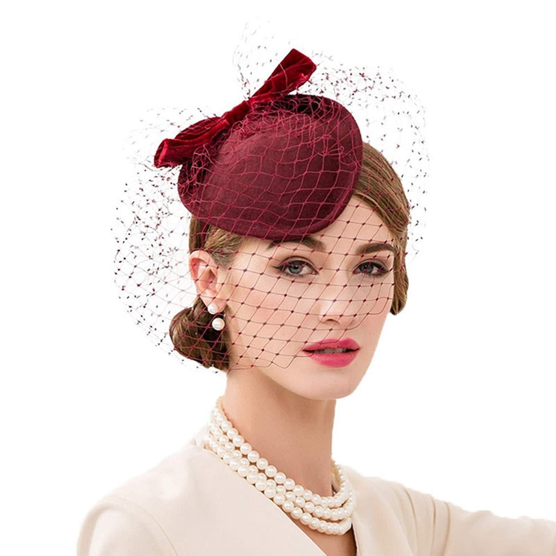 f4ee8fb710a51 Wine Red Women Fascinator Pillbox Felt Wool Hat Formal Dress Flower Veil  A131