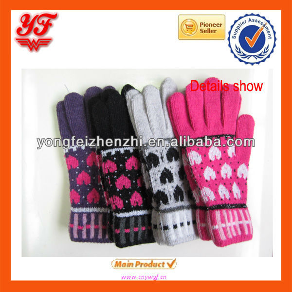 Wholesale Newest Designs Acrylic Jacquard Winter Gloves Hand Gloves