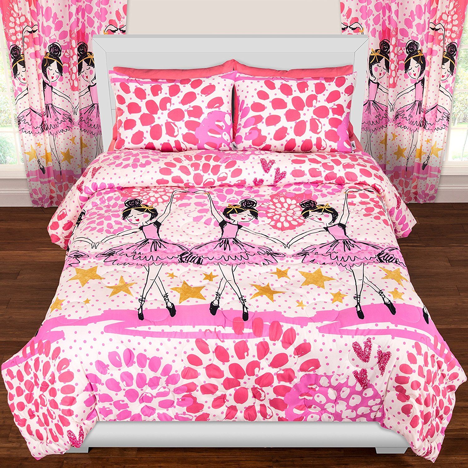 D&H 2 Piece Girls Hot Pink White Gold Dancing Ballerina Theme Comforter Twin Set, Beautiful Giry All Over Floral Ballet Dancer Bedding, Multi Pretty Princess Flower Star Themed Pattern, Black Gold