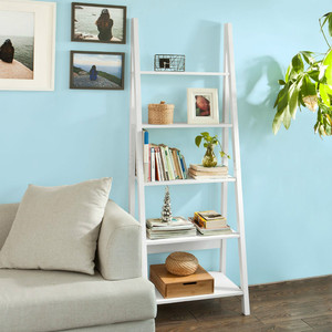 Modern 5 Tiers Ladder Shelf Bookcase, Wood Storage Display Shelving, Wall Shelf, W64xD39xH180cm