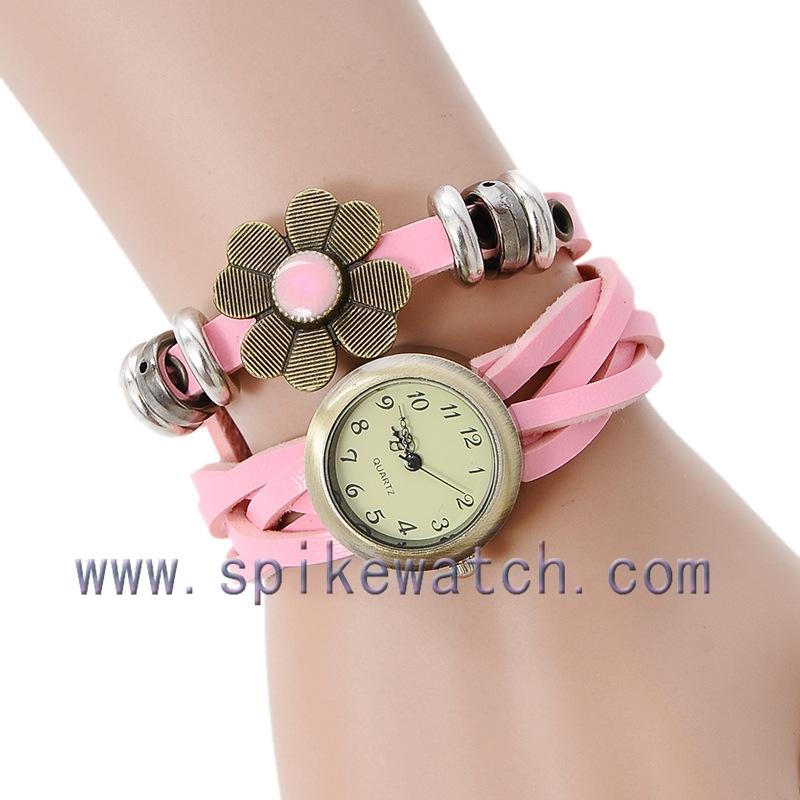 High Quality Flower Decorated Diy Leather Bracelets Watch Wrap Bracelet