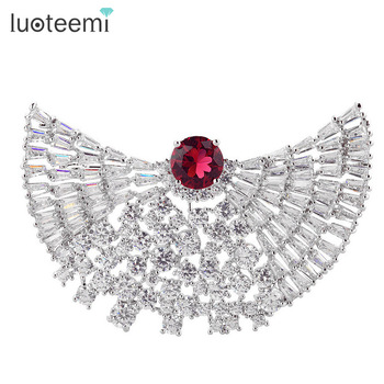 LUOTEEMI China Yiwu Jewelry Manufacturer Wholesale Wedding Bouquet Fashion Cubic Zircon Bridal Gift Brooch