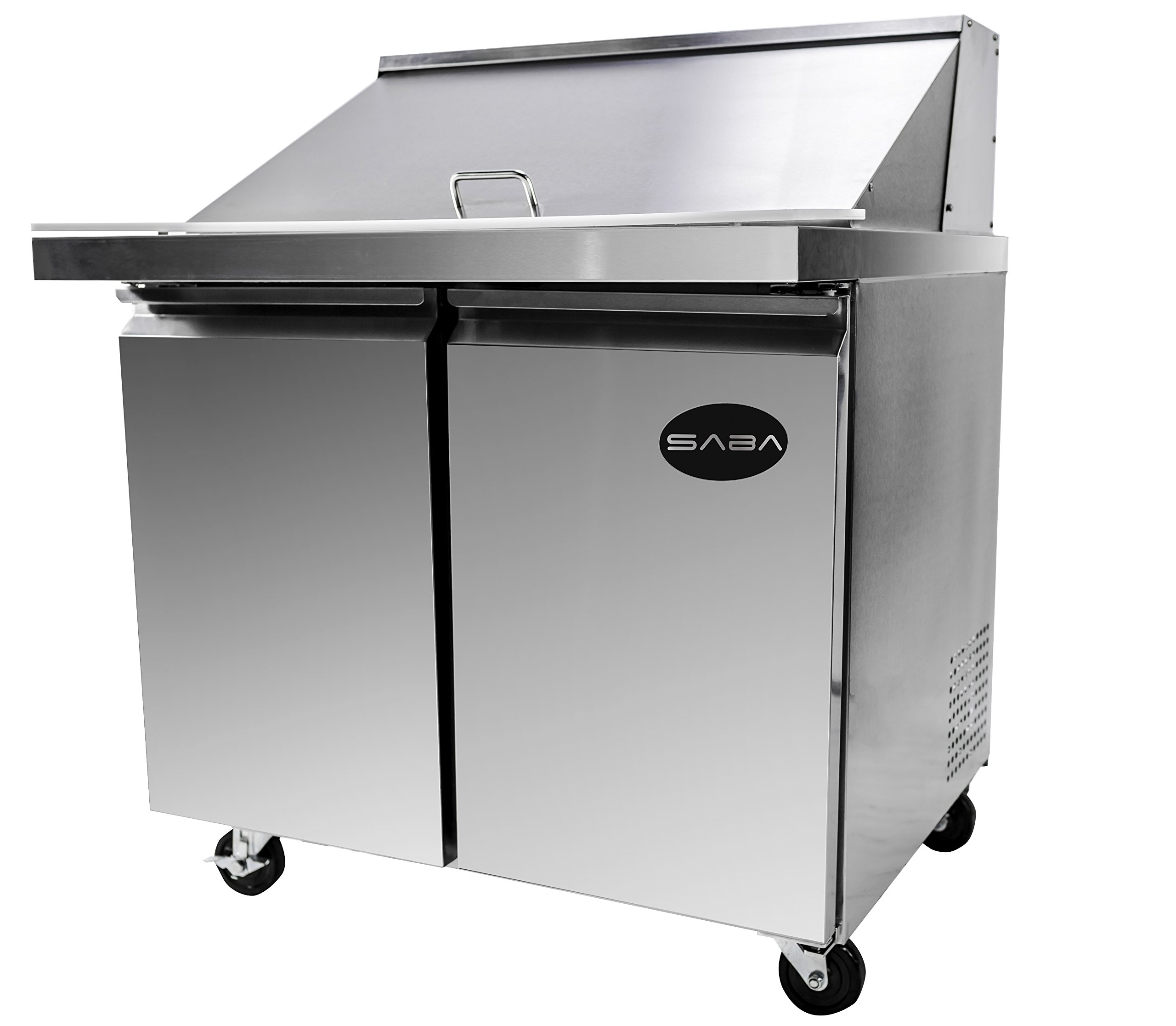 Heavy Duty Commercial Stainless Steel Mega Prep Table Refrigerator Cooler 2 Door 36""