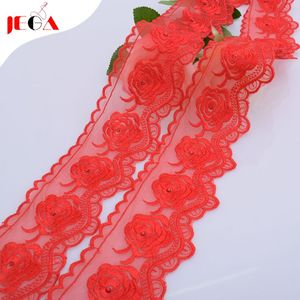 2019 Royal red venice macrame crystal beaded lace trim