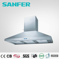 Big silver white stainless steel range hood with 1600 or 2000 m3/hr air flow 4 LED lamps 3 speeds twin motors