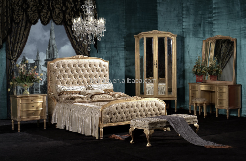 Luxury European Ivory Solid Wood Hand Carved 5 Pieces Upholstered Leather  Bedroom Set