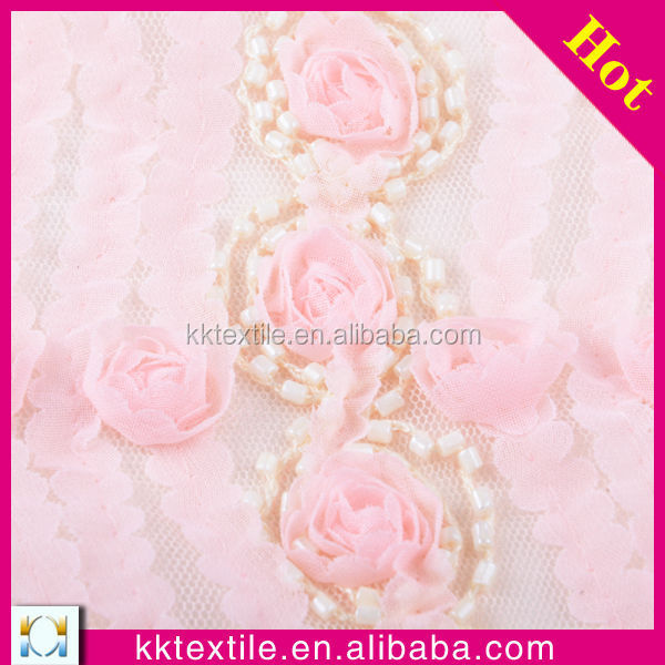 Embroidery designs with stone work swiss voile lace fabric