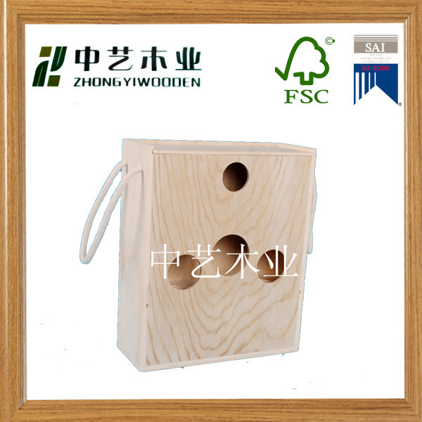 Latest Design manufaturer 6 bottle pine hinged wholesale wooden wine boxes