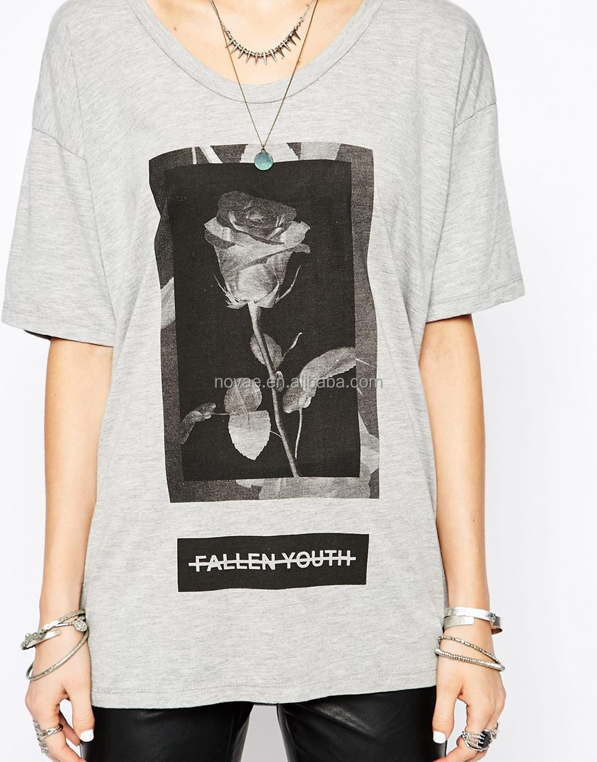 Ladies T-shirt Print Design Custom Own Printing Rose T Shirt ...