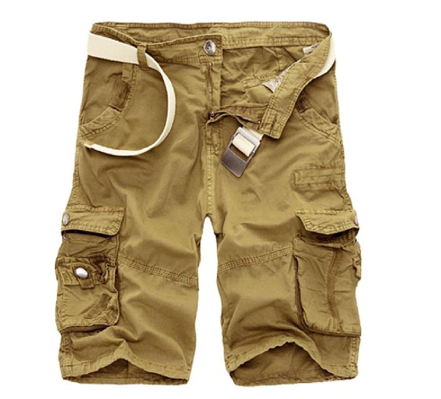 Sheng Xi Men's Outdoor Camouflage Cozy Printed Twill Multi-Color Oversize Cargo Shorts