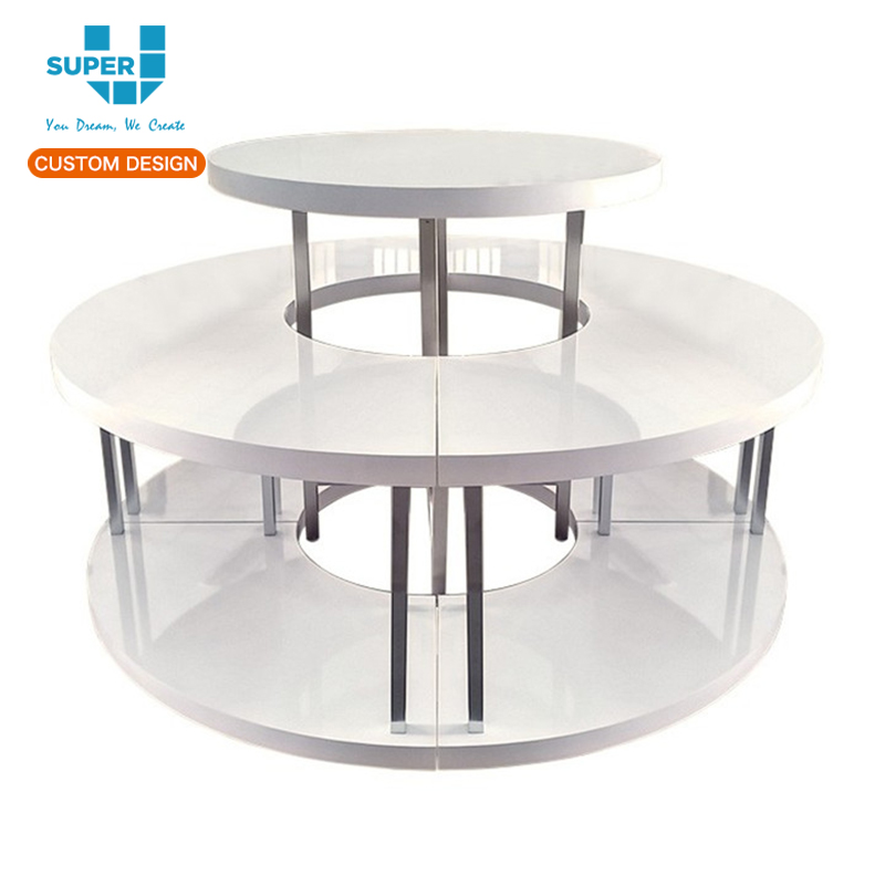 White Modern Retail Round Tiered Display showcase Table for Boutique Handbag