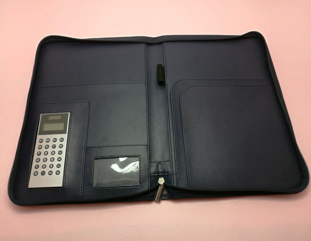 Leather vintage professional business padfolio organizer zipper bag