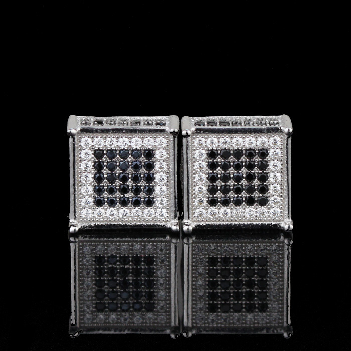 Fashion 925 sterling silver jewelry wholesale micro pave diamond earrings studs