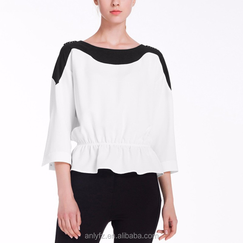 new arrival women apparel contrast elastic waist 100% polyester blouse and tops for lady