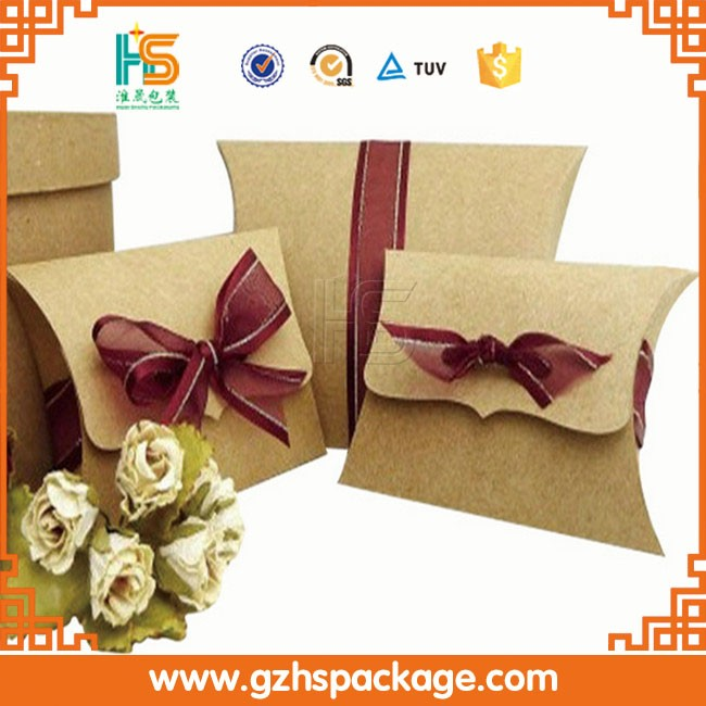 Hot!!! Custom Made Recycled Brown Kraft Paper Pillow Box With Logo Print For Gift /Soap /Cloth /Jewelrypackaging
