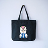 Black Cartoon Cat Multipurpose Canvas Fabric Tote Bag