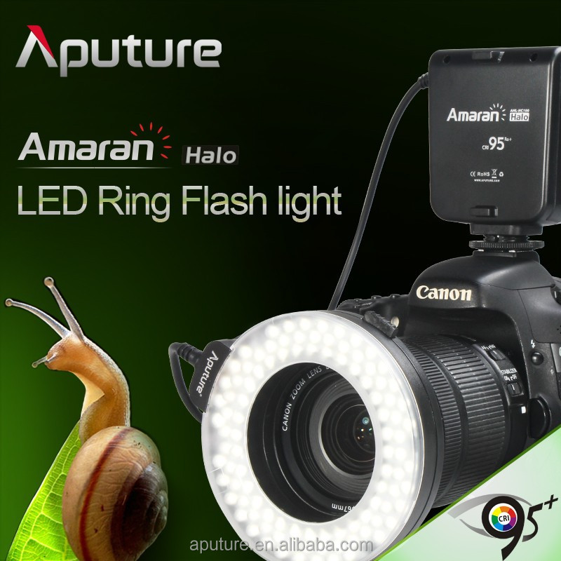 Aputure HC100 CRI95 Macro Photography LED Ring Light + 8 Lens Adapter for Canon Nikon Camera