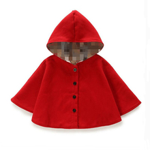 2016 winter spring fashion kids baby cape pattern black red cotton hooded plaid girls Coat jackets