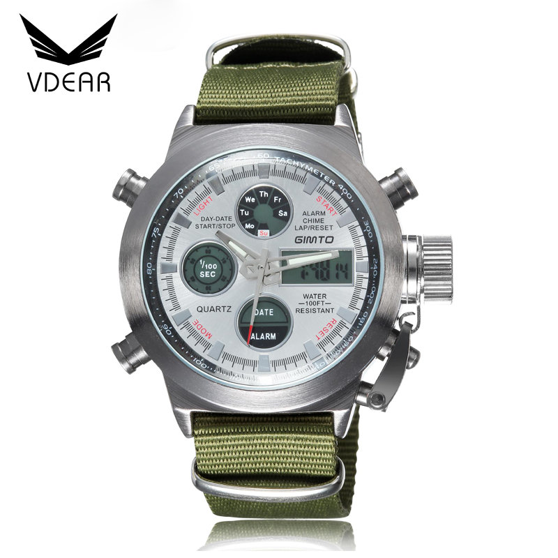 Innovative three eyes day of the week watch chronograph big dial watches for men with olive grren nylon strap