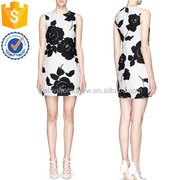 Alibaba supplier for women OEM design rose brocade sleeveless short midi women dress