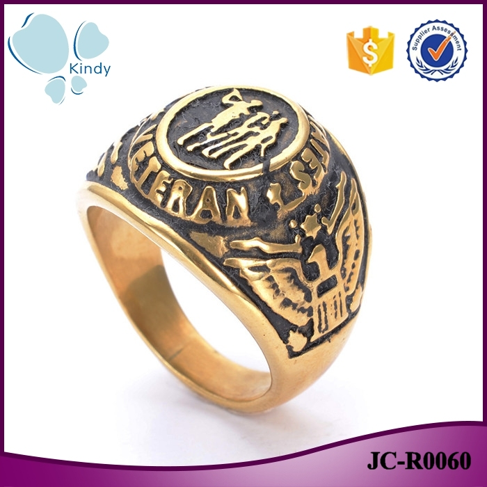 New design vintage punk style 316l stainless steel gold plating united states vetran ring for men