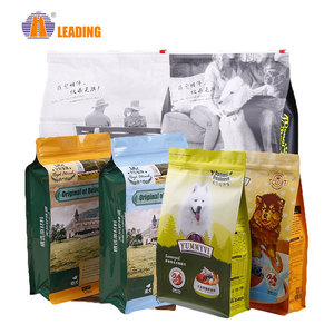 Custom Fish Plastic Recycle Reseal Birds Animal Flat Bottom Stand Up Cat Dog Pet Food Bag With Ziplock