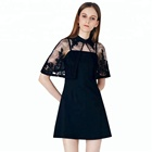 2018 Women Summer Elegant Embroidery Batwing Embroidery Poncho Embellished Lace Dress