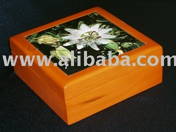 Wood Box With Passion Flower Picture
