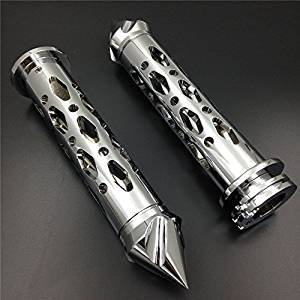 "XKMT Motorcycle Chrome CNC Billet 7/8"" 22mm Spike Car Ends Hand Grips For Suzuki GSXR Hayabusa Yamaha FZR YZF 600 R1 R6"