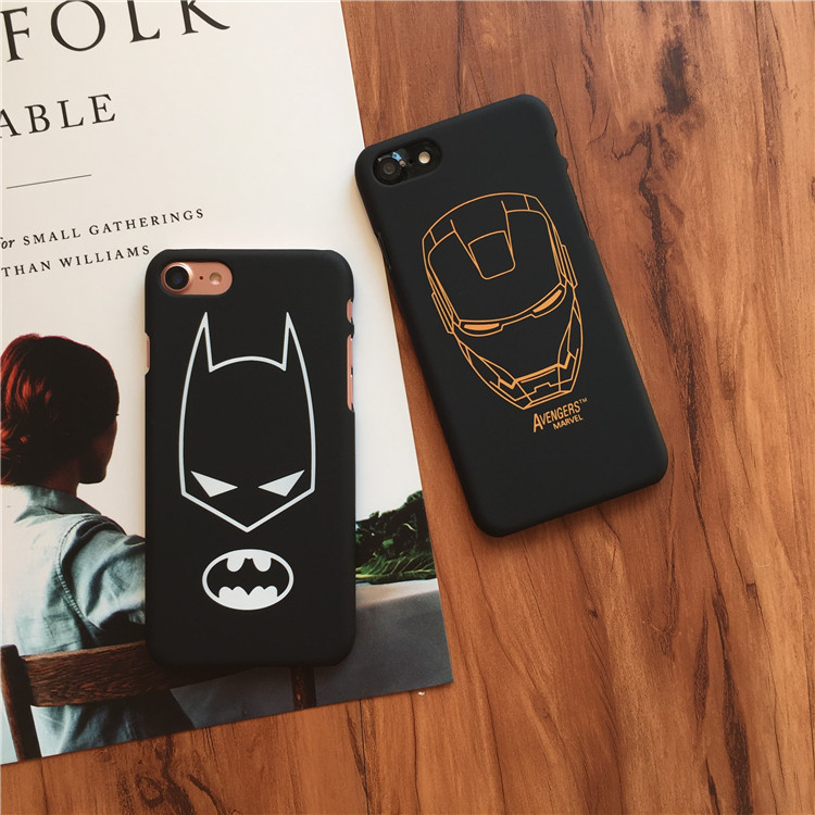2018 hot selling simple lines batman iron man slim hard pc mobile phone case for iPhone 6s 7 8 Plus X