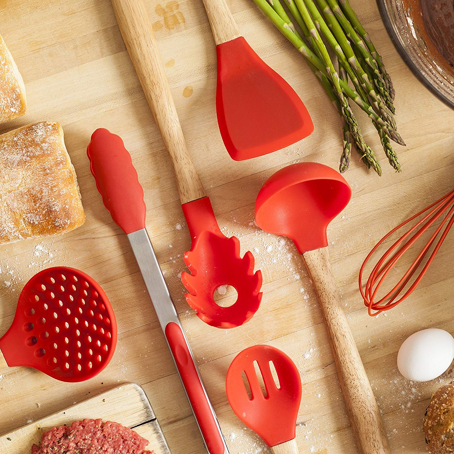 Silicone Kitchen Utensils Set with Wooden Handle - 7 Piece Set - Multiple Kitchen Accessories for Cooking - BPA Free, Non-Toxic, Heat Resistance, Eco-friendly, and Red Non-Stick Kitchen Utensils Set