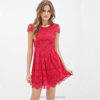 Hot Sale Latest Women Red Lace Dress Short Sleeve Plain Red Lace Dress Designs Buy Lace Dressladies Lace Dress Designslace Dress Designs Product