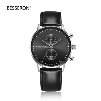 핫 품 미니 멀 chronograph wristwatch relojes 험 브레와 genuine leather 끈 3ATM 물 저항하는 watch