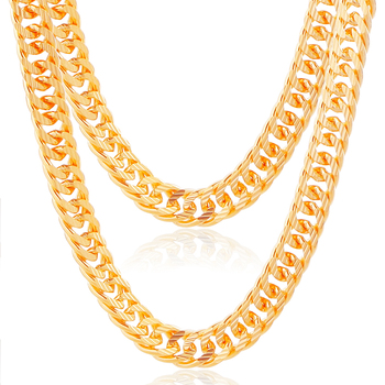 ATHENAA China Wholesale 18k Gold Jewelry, Fashion Long Gold Chain Necklace Designs, Men Necklace Gold Chain