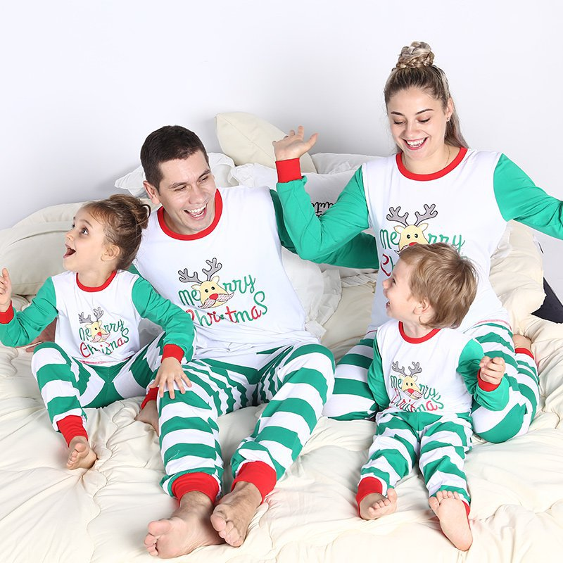 23dfa87f88 Family Matching Christmas Stripes Deer Pajamas for Kids Mon and Dad Pjs  Sets  strong