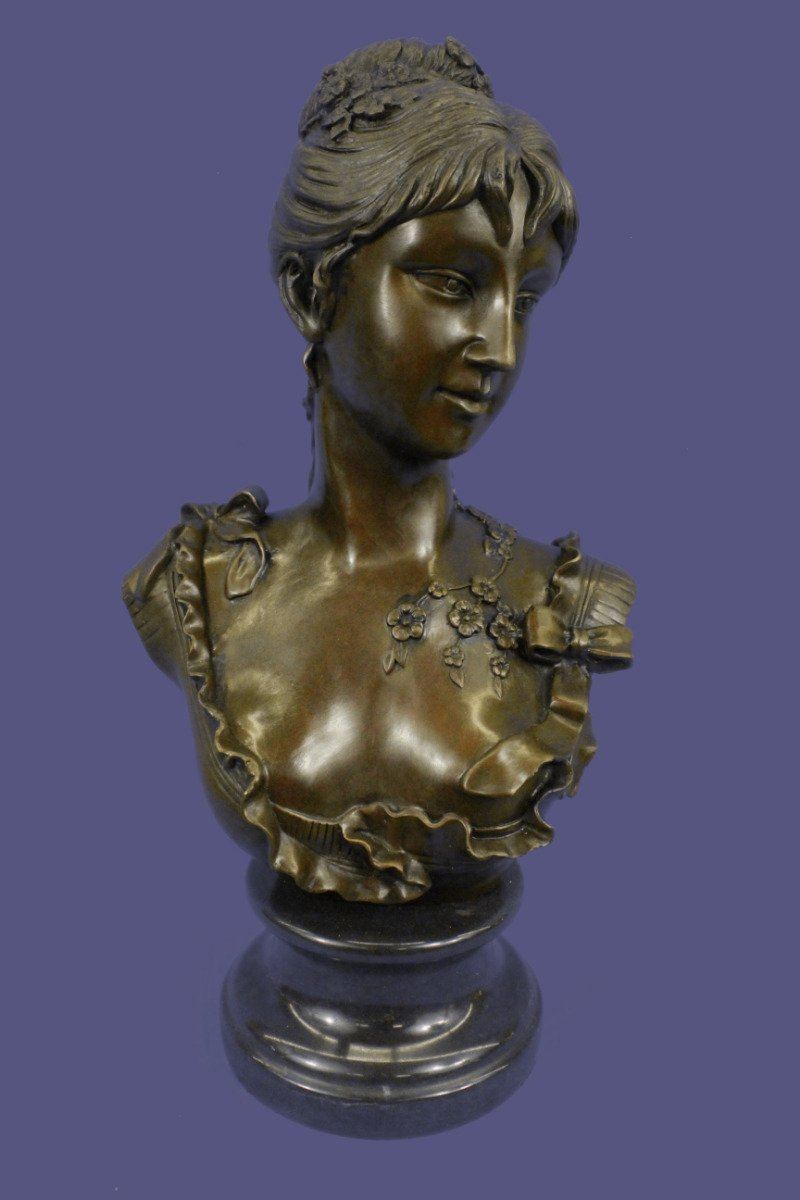 "...Handmade...European Bronze Sculpture Elegant Signed Marble Nude Female Bust 17"" Figuine (1X-DS-267) Bronze Sculpture Statues Figurine Nude Office & Home Décor Collectibles Sale Deal Gifts"