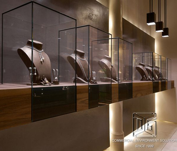 Modern Jewelry Shop Window Display Case And Jewelry Wooden