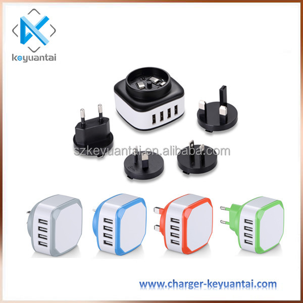 4 Ports USB Wall Charger Mains AU US EU UK Plug Adapter,5V 4.5A Multiple USB World Travel Charger