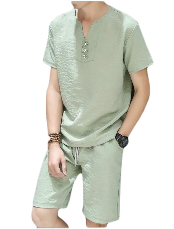 M/&S/&W Mens Solid Linen Short Sleeve Shirt and Long Pants 2 Piece Set